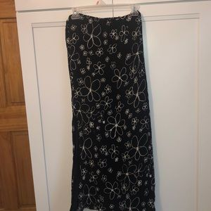 Chico's Black Flower Abstract Maxi Crepe  Skirt